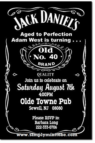 diy jack daniels inspired 40th birthday invitation 4x6 personalized to your specifications. Black Bedroom Furniture Sets. Home Design Ideas