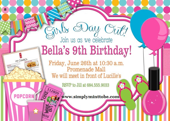 DIY Girls Day Out Party Invite Spa Nail Movies for all occasions – Girls Spa Birthday Party Invitations