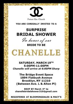 Coco Chanel Inspired White Black And Gold Invitation With Chanel