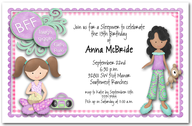 DIY Girls Pajama Party Sleepover Invite For All Occasions Birthdays Sleepovers