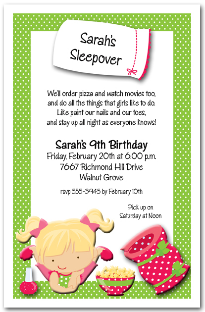 DIY Girls Sleepover Pajama Party Invitation 4x6 Digital Order Only Birthday Invite 3