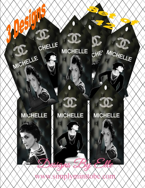 76fc3637f58b77 CoCo Chanel Inspired Black White or Pink 2x5 Gift Tags with Coco Chanel  picture and logo 3 styles available for all occasions Weddings, Bridal  Shower, ...