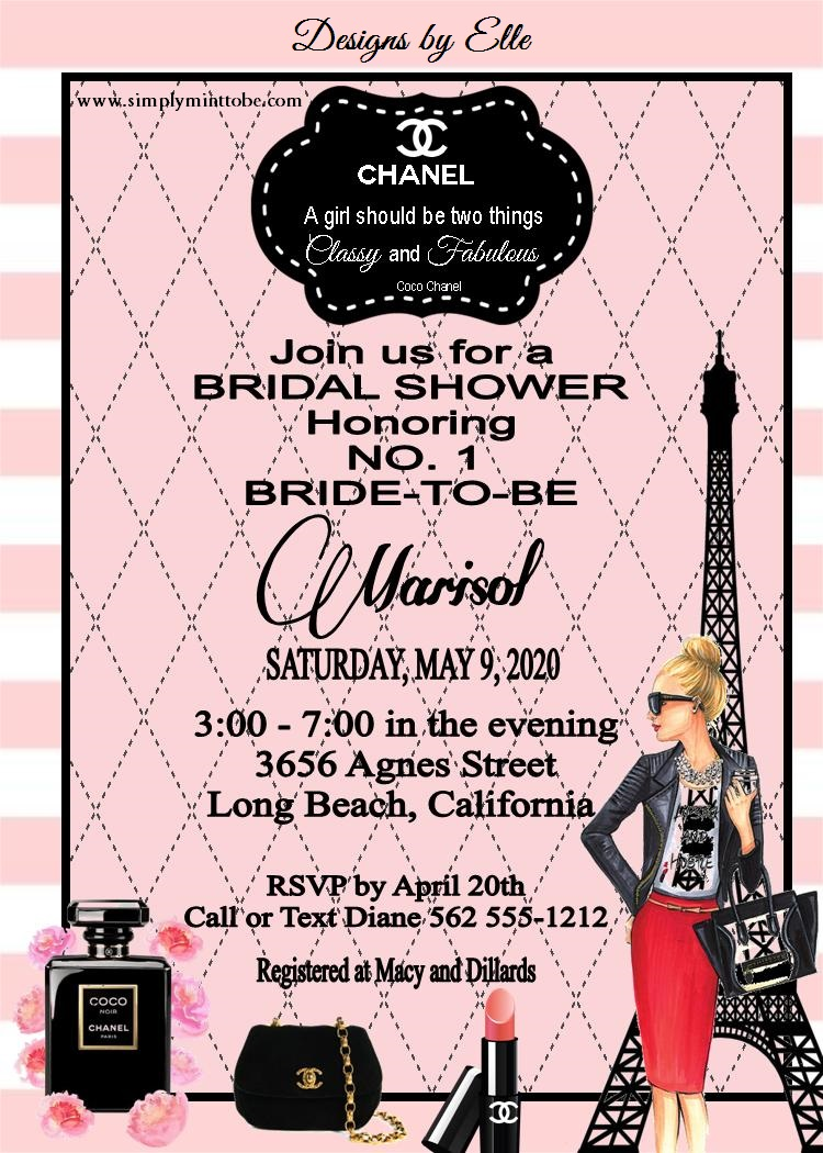 Coco chanel inspired pink and black bridal shower birthday baby coco chanel inspired pink and black bridal shower birthday baby shower invitation with chanel logo personalized to your specification sold in sets of 10 filmwisefo