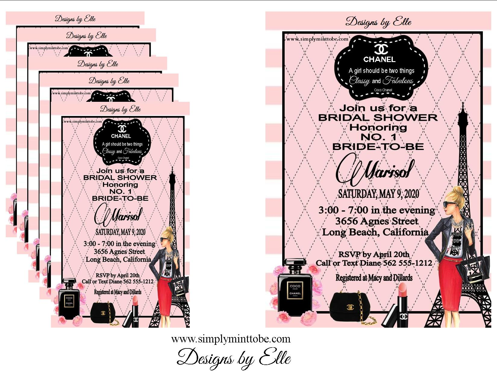Coco chanel inspired pink and black bridal shower birthday baby coco chanel inspired pink and black bridal shower birthday baby shower invitations personalized to your specifications for all occasions weddings filmwisefo