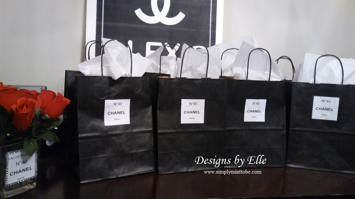 2f7b0c947c8eb8 Chanel Party Inspired Black Tote Gift Bag 10x8x4 with personalized Chanel  No 5 personalized 2 inch label for all occasions Weddings, Bridal Showers,  ...