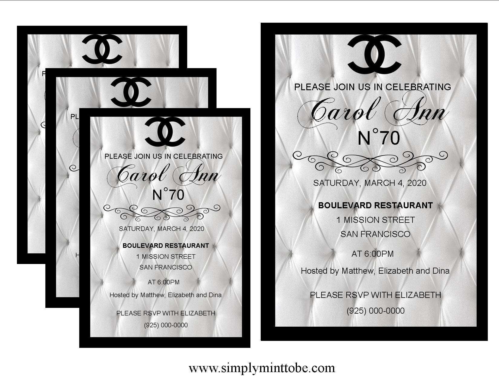 Coco chanel inspired large white leather graphic invitations coco chanel inspired large white leather graphic invitations personalized to your specifications for all occasions weddings bridal showers baby showers filmwisefo