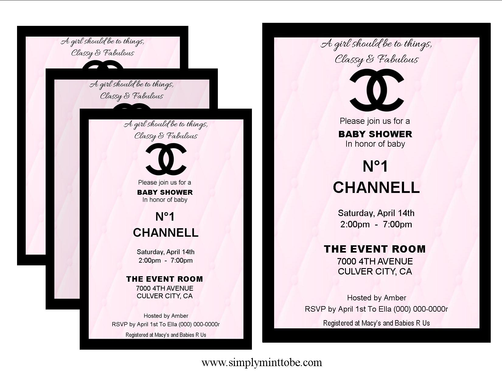 Coco Chanel Inspired Invitations Baby Shower Pink And Black Leather