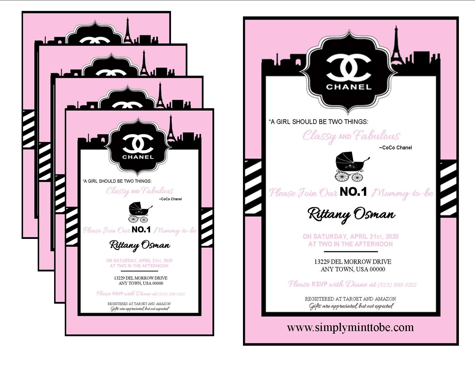 Coco chanel inspired white and pink baby shower invitations coco chanel inspired white and pink baby shower invitations personalized to your specifications for all occasions weddings bridal showers baby showers filmwisefo