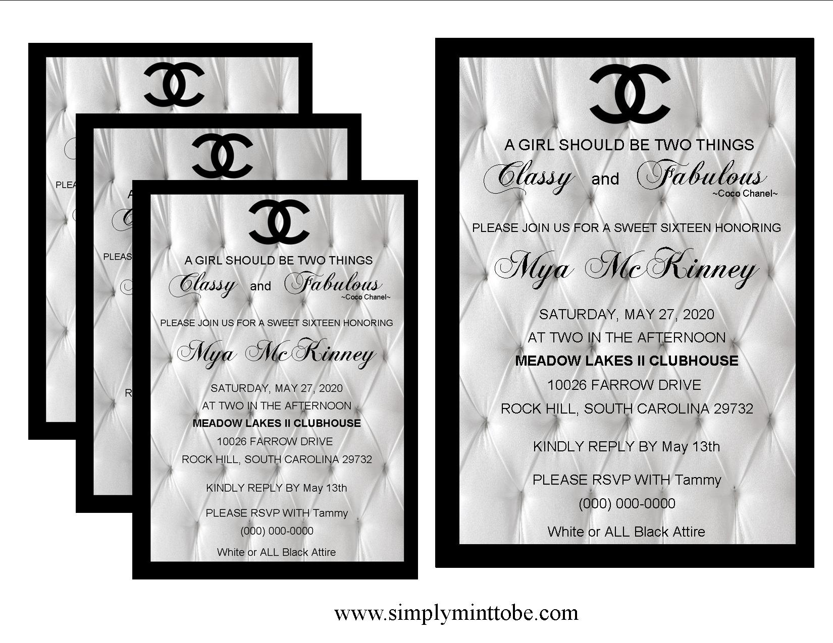 Coco Chanel Classy And Fabulous Inspired Large White Sweet 16