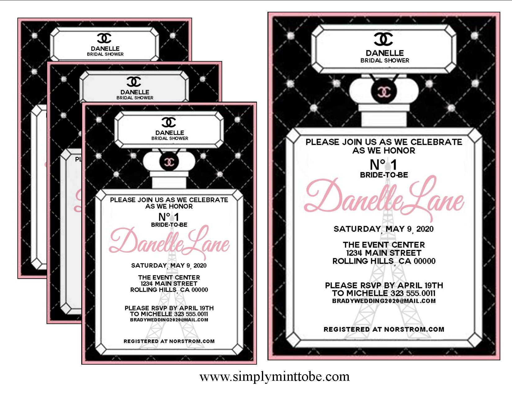Coco Chanel Inspired Black And Pink Perfume Invitations With Cc