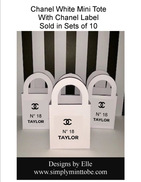 2bbe28b38da554 Coco Chanel Parisian Inspired Mini Purse Tote Bags with CC Logo Name and  Chanel Number Sold in Sets of 10